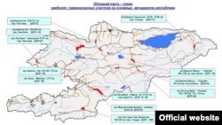 Карта схода лавин, составленная сотрудниками МЧС КР