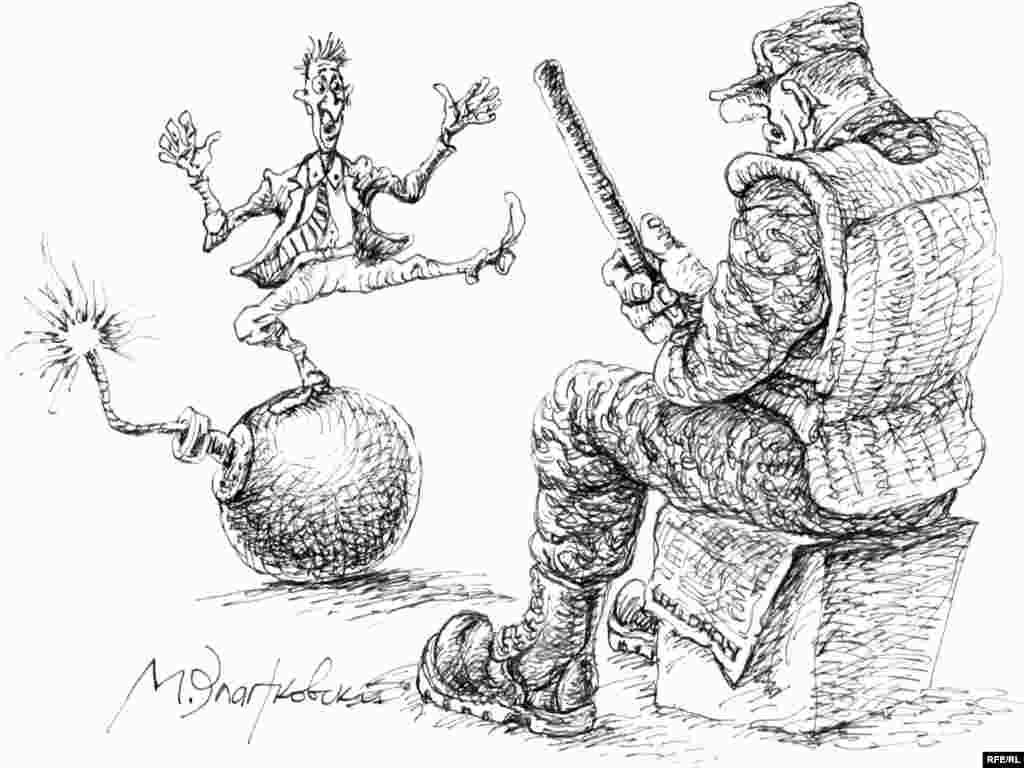 """Три заветных буквы. МВД. Михаил Златковский. """"На страже"""". Взаимоотношения населения и милиции видятся художнику так..."""