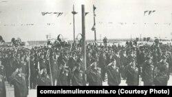 9 mai 1969. Festivitatea de deschidere a primului șantier al tineretului în agricultura pe sistemul de irigații. Sursa comunismulinromania.ro (MNIR)