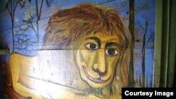Библейский лев. Живопись в интерьере жилого дома в деревне Поповка