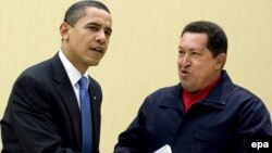"Venezuelan President Hugo Chavez (right) with U.S. President Barack Obama at the 5th Summit of the Americas in Port Spain in mid-April; Chavez gave Obama a copy of Uruguayan author Eduardo Galeano's ""Open Veins Of Latin America."""