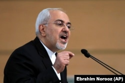 Iranian Foreign Minister Mohammad Javad Zarif speaks during the Tehran Security Conference on January 8.