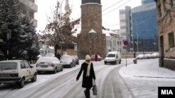 Снег во Гостивар.