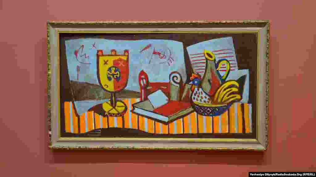 Роман Сельський, «Натюрморт з свічками і тлом із блакитних аркушів паперу», 1970-ті