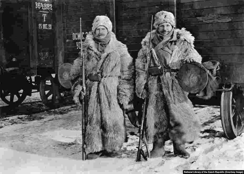 Legionnaires guarding a train in Siberia on a -40C day. By the autumn of 1918, World War I was over and the legionnaires' distant, beloved Czechoslovakia had been declared an independent nation.