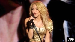 Mexico -- Colombian singer Shakira performs on stage during a concert in Merida, 16Jul2011