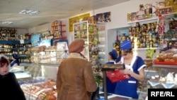 Продуктовый магазин в Уральске. 6 февраля 2009 года.