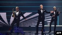 Moldova's Sunstroke Project performs the song Hey Mamma during the first semifinal of the Eurovision Song Contest at the International Exhibition Center in Kyiv on May 9.