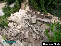 Обвалившаяся часть Митридатской лестницы в Керчи