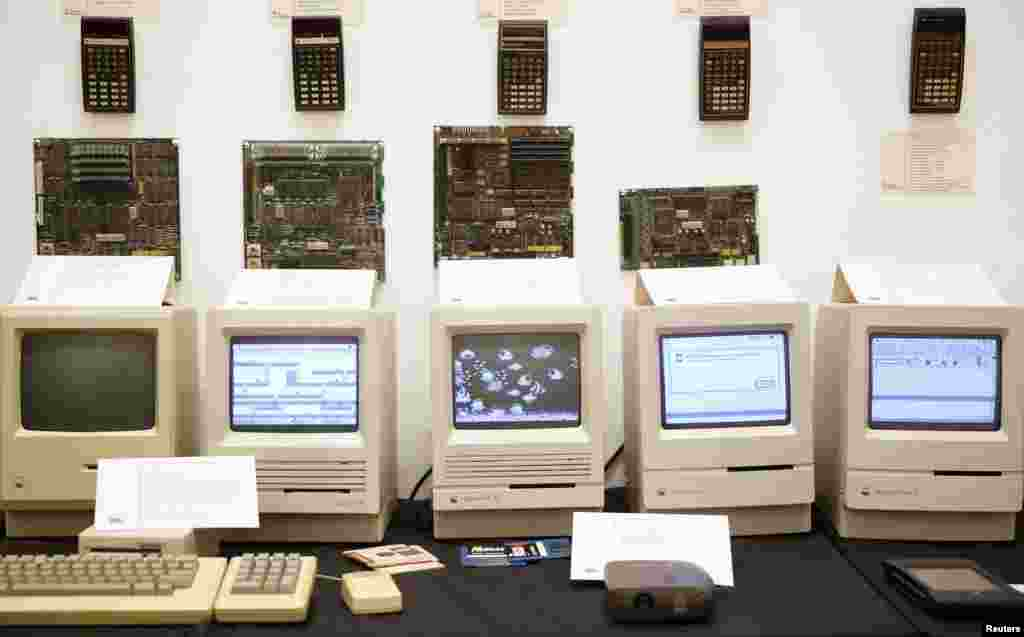 "Macintosh motherboards and computers together on display at the ""History of Computers"" exhibition in Sarajevo, Bosnia-Herzegovina."