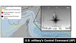 Localizarea geografică a dronei amerciane doborîte de o rachetă iraniană, imagine furnizată de U.S. military's Central Command