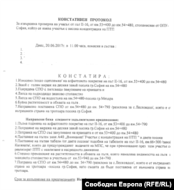Протоколът, с който АПИ предписва незабавен ремонт