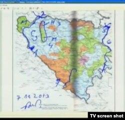 Jedna od više karti BiH prikazanih u sudnici