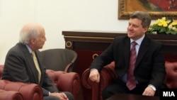 Една од средбите на претседателот Ѓорге Иванов со медијаторот Метју Нимиц