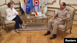 Egyptian Army chief General Abdel Fattah al-Sisi meets with EU foreign policy chief Catherine Ashton on July 29.