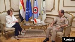 Catherine Ashton gjatë takimit me gjeneralin al-Sisi