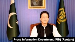 Pakistan's Prime Minister Imran Khan, speaks to the nation in his first televised address in Islamabad on August 19.