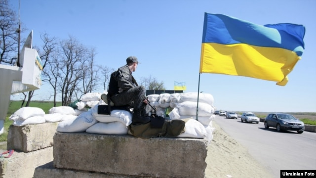 A Ukrainian military checkpoint near the Donetsk region on April 25