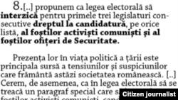 Romania - Art. 8 of Timisoara Proclamation, undated