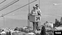 Vacationers enjoy a low-frills aerial lift in Yalta, 1968.