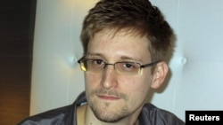 "Edward Snowden during an interview with ""The Guardian"" in his hotel in Hong Kong on June 8"
