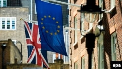 Zastava Velike Britanije i Evropske unije, London