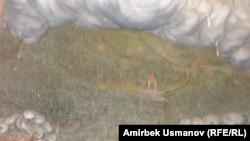 Гостин тоосунун этегиндеги монгол-татар аскерлери конушун таштап качууда. Ыйык Гостин чиркөөсүндөгү панно.