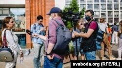Журналісты Радыё Свабода Алесь Пілецкі і Андрэй Рабчык падчас стрыму 15 ліпеня 2020