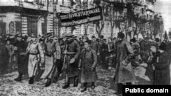 Miting al Batalionului revoluționar român la Odesa, la începutul anului 1918