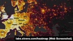 Карта активностей пользователей Strava