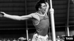"Pole vaulter Konstantin Volkov competing at the 1980 Moscow Olympics, where he won silver. He was told he needed to go through ""a special drugs program."""