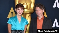 Macedonian directors Tamara Kotevska (left) and Ljubo Stefanov in Los Angeles during Oscars week.