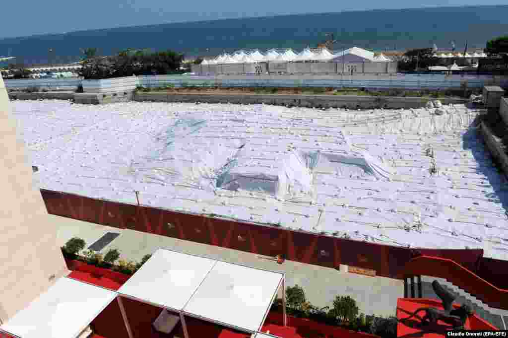 An installation by Christo at the Lido in Venice, Italy, in August 2011, one day before the opening of the 68th annual Venice Film Festival.