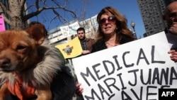 """ABŞ-ın Oklend şəhərində nümayiş- Şüarda yazılıb: """"Tibbi marixuana həyatları hivz edir"""""""