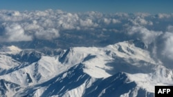 Snow-capped Himalayan mountains in the disputed Kashmir region.