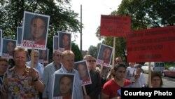 صحنه ای از راهپیمایی در حمایت از اسانلو در نروژ