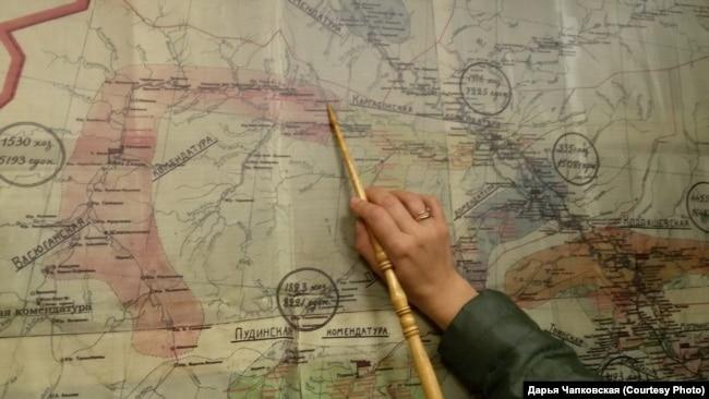 Маршрут побега Керсновской на карте 1940-х годов