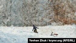 Юный крымчанин поднимается на горку с санками