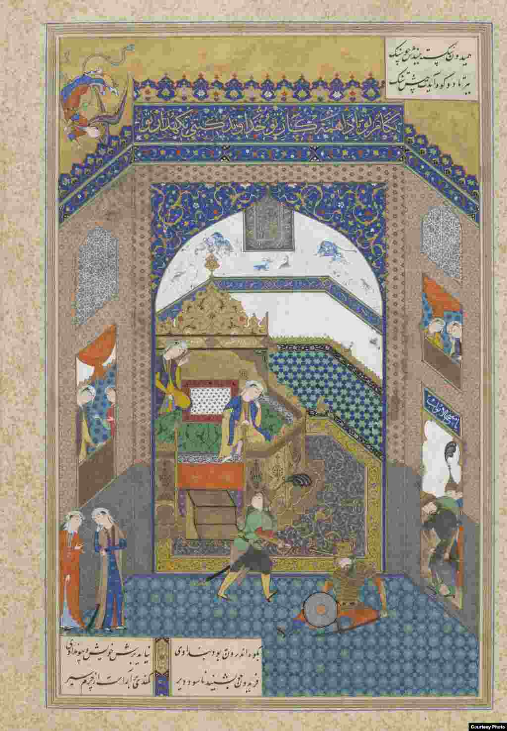 "On October 23, the Smithsonian Institute in Washington, D.C., will celebrate the millennial anniversary of the Persian epic poem ""The Shahnameh"" or ""Book of Kings"" with an exhibit of 19 rare watercolors, along with two copies of the book and various metal artifacts depicting characters. ""Feridun Strikes Zahak With The Ox-Headed Mace,"" Tabriz, Iran, circa 1525, from ""The Shahnameh"" (Book of Kings) by Firdawsi Photos courtesy of the Smithsonian Institute, Washington, D.C."