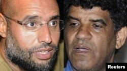 Саиф әл-Ислам Каддафи (сол жақта) мен Абдулла Сенуссиге іздеу жариялаған кездегі сурет.