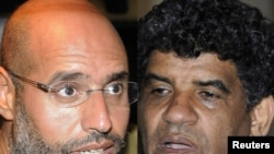 Libya -- A combo photo shows Saif Al-Islam (L), son of Muammar Qaddafi, and Abdullah Al-Senussi, head of the Libyan Intelligence Service