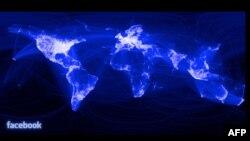 Мапата на корисници на Фејсбук.