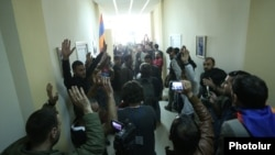 Armenia - Opposition supporters occupy the Public Radio headquarters in Yerevan, 14 April 2018.
