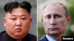 A combination file photo of North Korean leader Kim Jong Un (left) and Russian President Vladimir Putin
