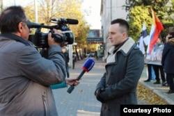 Александр Оршулевич перед телекамерами