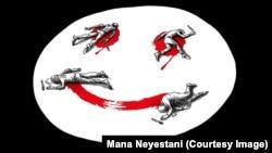 طرحی از مانا نیستانی، کاریکاتوریست ایرانی در همدردی با قربانبان حمله به نشریه فرانسوی شارلی ابدو