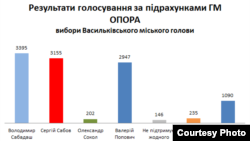Результати виборів у Василькові за підрахунками громадянської мережі «Опора», 3 червня 2013 року