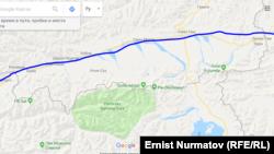 Газ куурдун Кыргызстандын аймагынан өтчү маршруту. Болжолдуу линия.