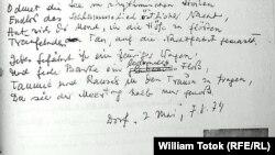 Detaliu al unei pagini din dosarul Securității cu o poezie de Alfred Kittner și portretul său