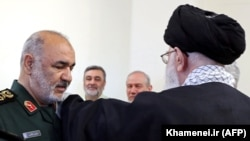 Iranian Supreme Leader Ayatollah Ali Khamenei (R) decorates the newly-appointed Major General Hossein Salami (L) as head of the Iranian Revolutionary Guards Corps (IRGC) during an official ceremony in Tehran, April 22, 2019